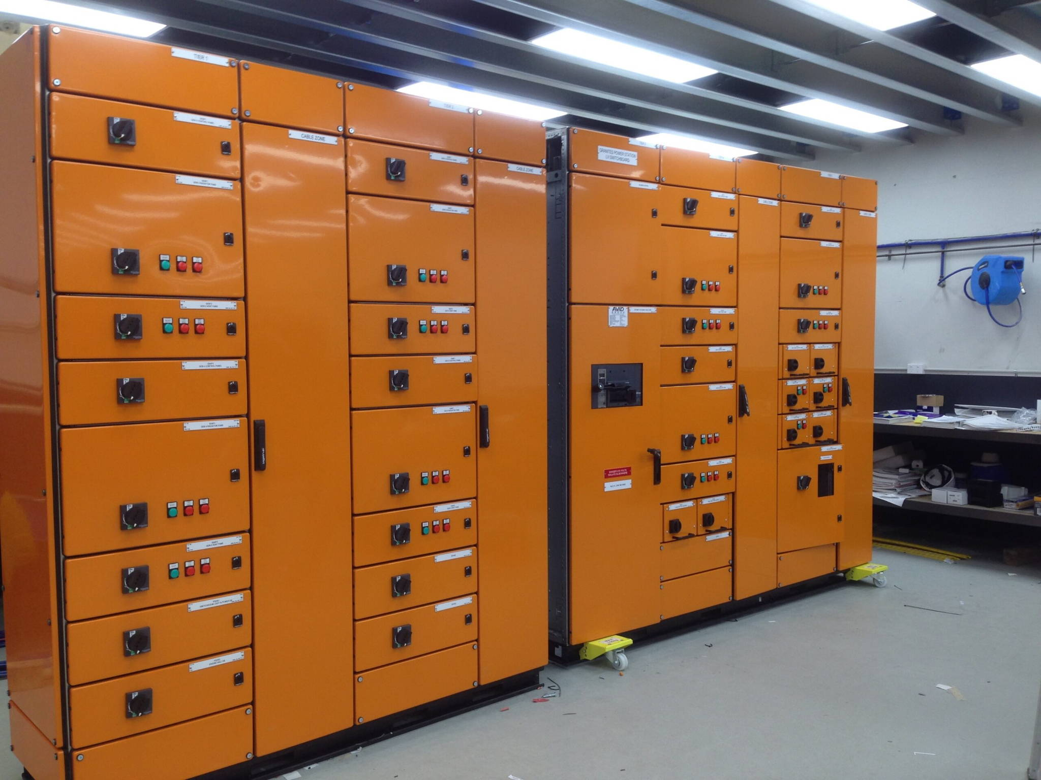 Logstrup Switchboard in orange for a process industry. Case picture from process industries which Logstrup Steel has manufactured its switchboard and Switchgear to.