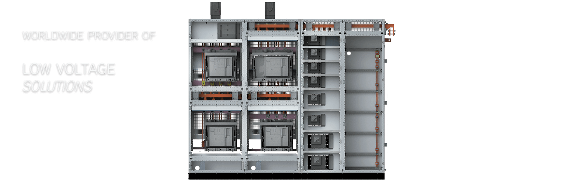 the logstrup electrical switchboard seen from the inside with details and in 3D