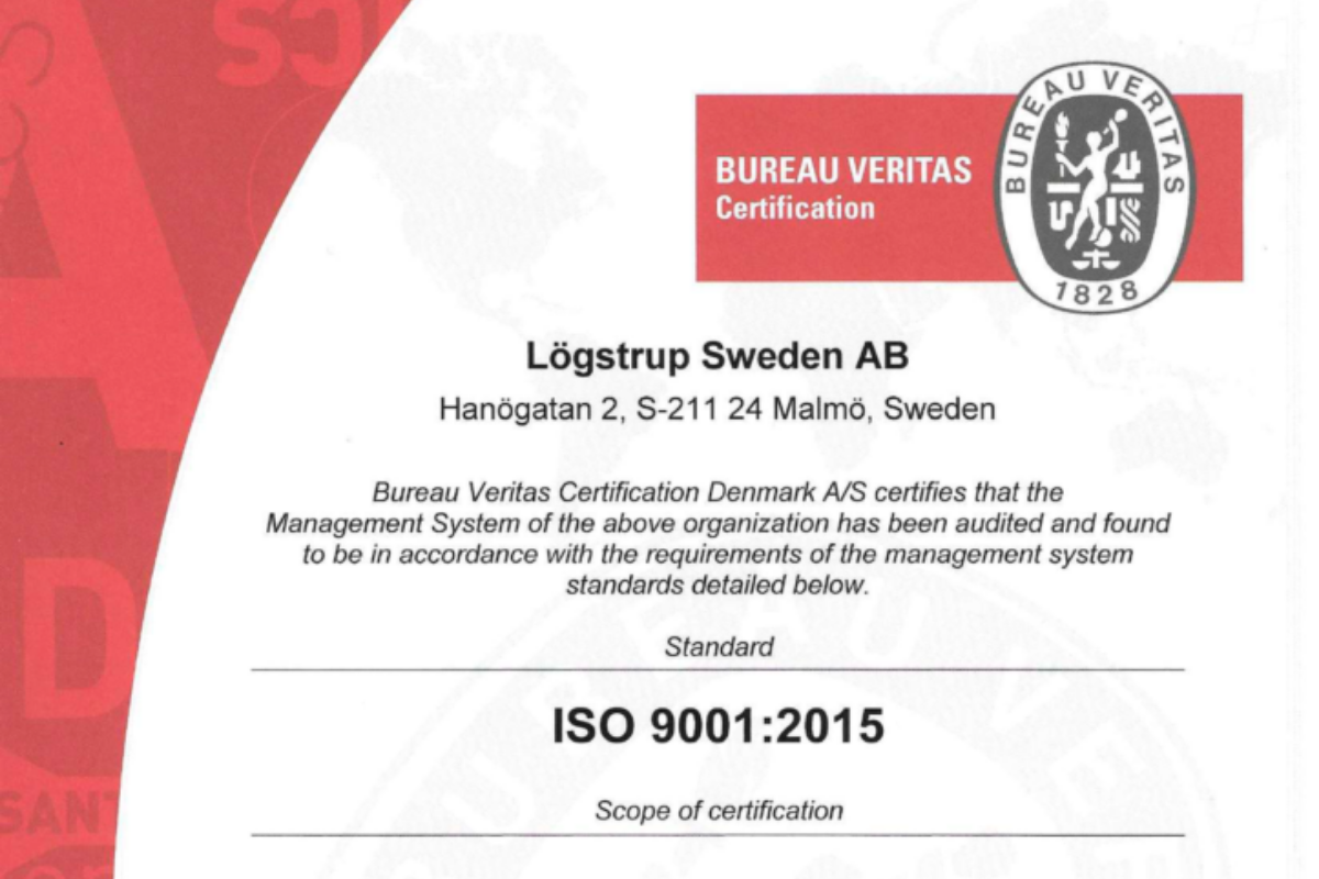 ISO 90012015 certification logstrup sweden small photo for news page